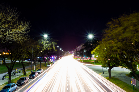 Above traffic in the night, long exposure photo