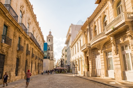 Historic buildings in old Havana Cuba in a beautiful day with lo