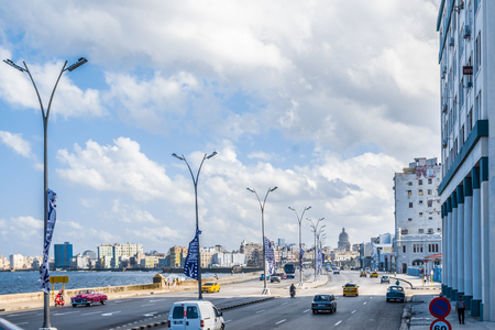 Street view of el malecon in a tipycal day in Havana city Cuba