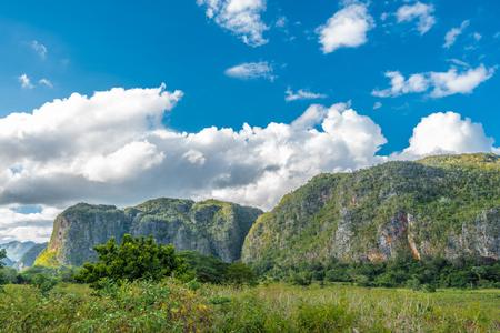 Vià ± ales vale vista em Cuba. Natureza irreal com lagos, montanhas, árvores, animais selvagens. Céu gorgeus. Foto de archivo