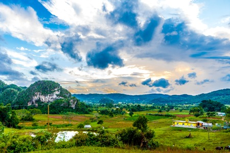 Opinião do vale dos cumes ales em Cuba. Natureza irreal com lagos, montanha, árvores, vida selvagem