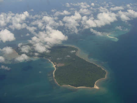 Aerial view cloud covered island