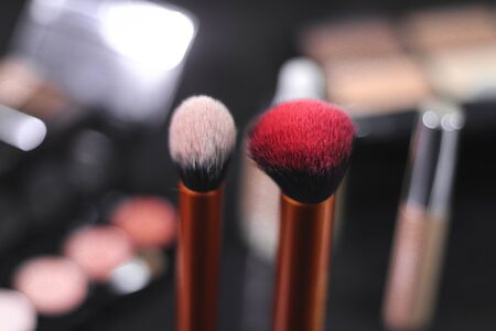 Brushes makeup with a background/ Contouring / Buffing brush Stock Photo