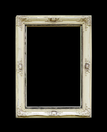 Old picture frame isolated on black background photo