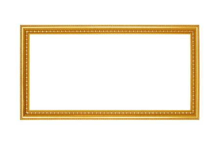 Gold frame. Goldgilded arts and crafts pattern picture frame. Isolated on white photo
