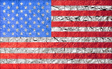 USA American Flag with a Shiny  leaf  Bronze Shiny  leaf   foil texture background photo
