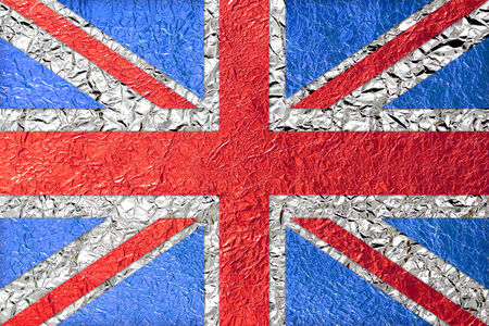 british Flag with a Shiny  leaf  Bronze Shiny  leaf   foil texture background photo