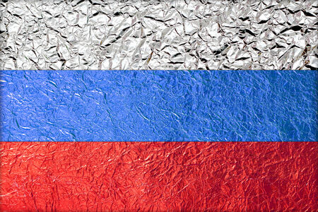 Russia Flag with a Shiny  leaf  Bronze Shiny  leaf   foil texture background photo