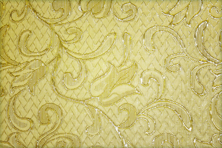 fancywork: Silver guipure, embroidery on cloth for wedding dress, texture Stock Photo