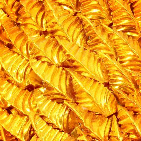 resplendence: Gold leaves foil wonderful metallic background Stock Photo
