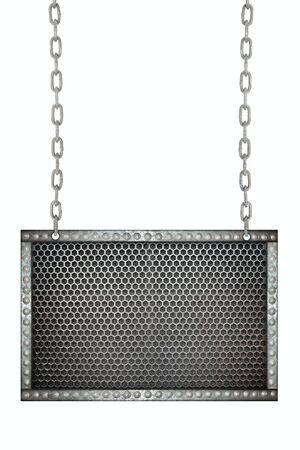 malla metalica: malla de metal letrero Seamless colgando de cadenas aisladas