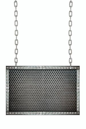 metal mesh: metal mesh Seamless signboard hanging on chains isolated
