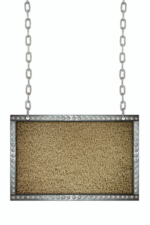 Dark gray mat signboard hanging on chains isolated