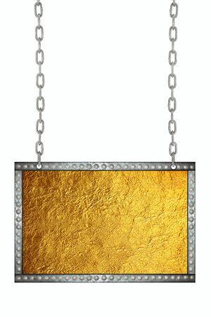 shiny gold: Shiny gold leaf foil signboard hanging on chains isolated