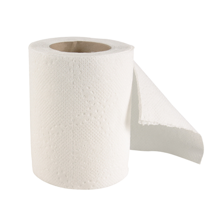 toilet roll: Tissue paper roll on white background.