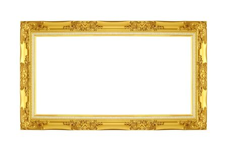 gold picture frame: gold picture frame. Isolated over white background