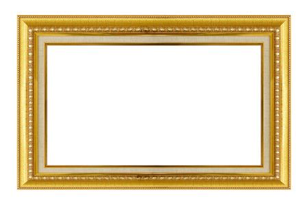 ゴールド フレーム。ゴールド金色の和柄パターン額縁。白で隔離