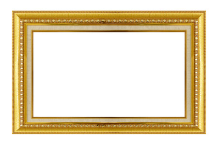 Gold frame. Goldgilded arts and crafts pattern picture frame. Isolated on white