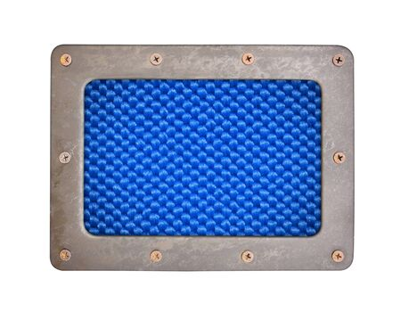 synthetic fiber: blue fiber background plate with metal frame and screws
