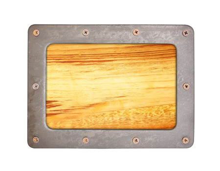 oxidated: Wood  texture background with steel frame and screws