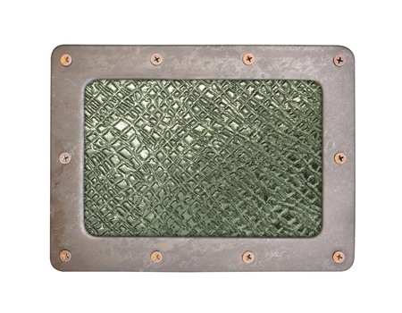 nameboard: metal texture pattern style of steel background plate with frame and screws