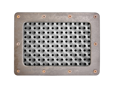 oxidated: metal texture with holes plate with metal frame and screws