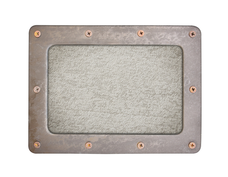 oxidated: cement background plate with frame and screws Stock Photo