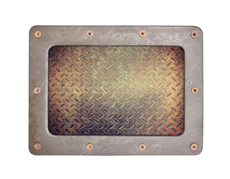 nameboard: steel rust textures background plate with frame and screws