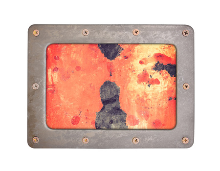 oxidated: steel background plate with frame and screws Stock Photo