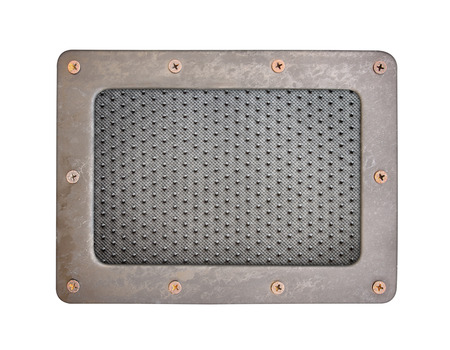 oxidated: Black dot PVC plastic background plate with steel frame and screws