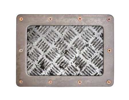 oxidated: metal texture pattern style of steel background plate with frame and screws