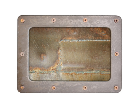 oxidated: steel rust textures background plate with frame and screws