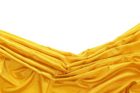 sheen: gold silk fabric on white background