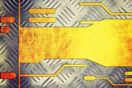 rend: metal plate on metallic gold background