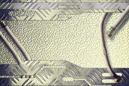 aluminum texture: Aluminum texture pattern style floor with metal pipe for background