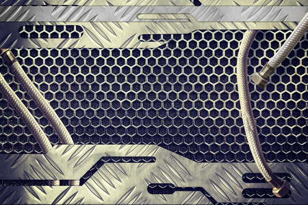 grille: metal plate over comb grid or grille with metal pipe background Stock Photo