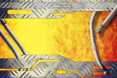 rend: metal plate on metallic gold background with metal pipe Stock Photo