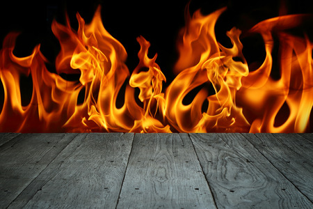 old perspective wooden floor with blaze fire flame
