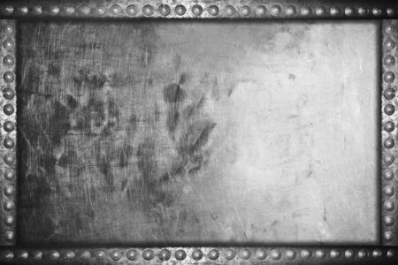 nameboard: old grunge aluminum plate background with metal rivets Stock Photo
