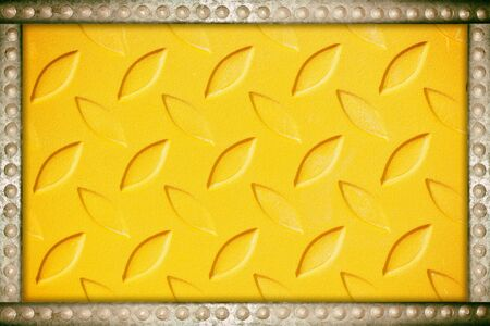 nameboard: yellow metal plate background with metal rivets frame