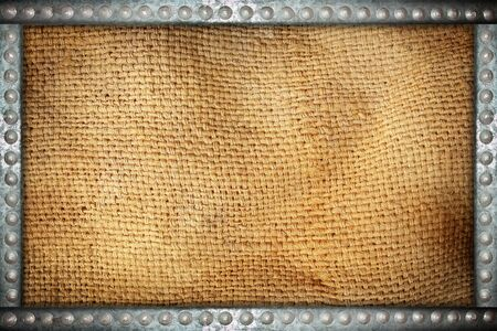 rivets: sack texture with metal rivets background frame