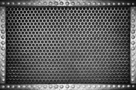 nameboard: metal mesh seamless pattern background with metal rivets frame