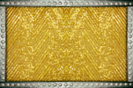 Gold sparkle glittering background with metal rivets frame Stock Photo