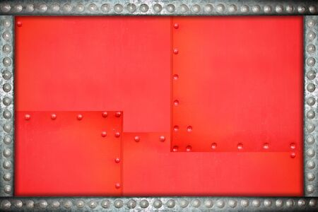 rivets: red plate with metal background rivets frame