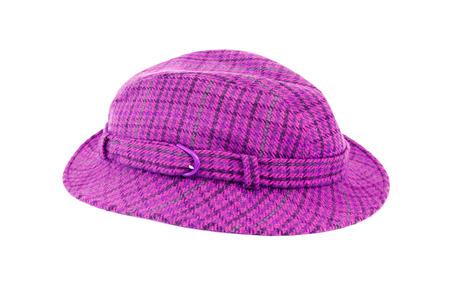 purple plaid hat isolated on white background Stockfoto