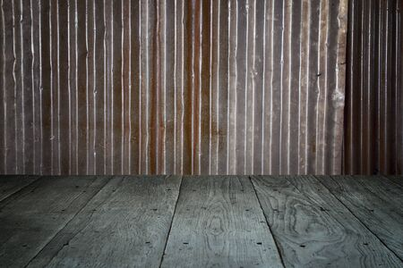 old perspective wooden floor and rusty galvanized iron
