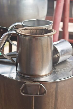 Classic kettle for camping coffee  photo