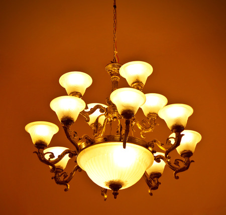 antique crystal lamp photo