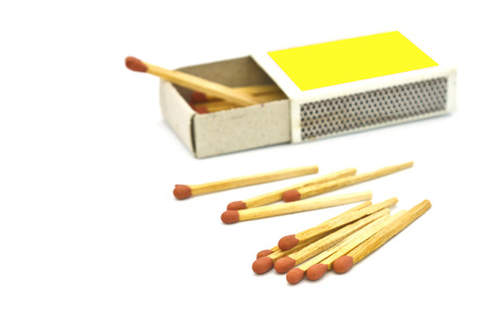Box of matches on white background photo
