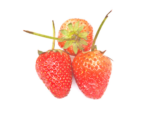 garden stuff: A heap of fresh strawberries on white background  Isolated Stock Photo